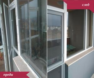 Преди и след почистване на прозорци след ремонт