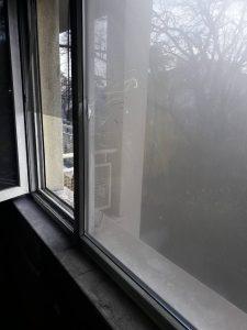 Прозорци след пожар.