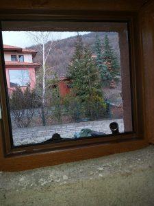Почистване на прозорец на санитарен възел.